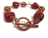 Bracelet with Chunky Rich Red Jasper and Copper