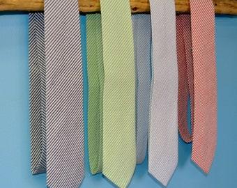 Classic Seersucker Men's Tie, Light Blue, Blue, Navy, Red, Orange, Yellow, Lime Green/ Great for Groomsmen Gifts, Groom's Tie, Southern Ties