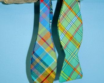 Madras Plaid Bow Tie, Blue Madras, Aqua Madras, Plaid Bow Tie, Self-tie Bow Tie, Pre-tied Bow Tie, Stripes Bow Tie, Preppy Bow Tie, Fun