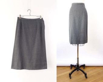 VINTAGE 1950s Pencil Skirt Grey Wool Medium