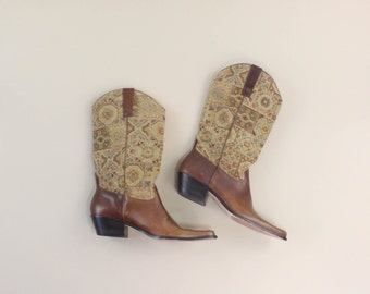 VINTAGE Womens Cowboy Boots Southwestern Tapestry Leather Size 10