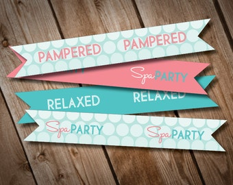 DIY Printable Spa Party Straw Flags INSTANT DOWNLOAD