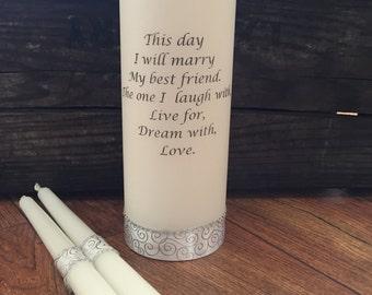 Wedding Unity Candle set, Ceremony Candle, Personalized wedding candle, poem, love, remembrance, customized wedding candle, pillar, tapers