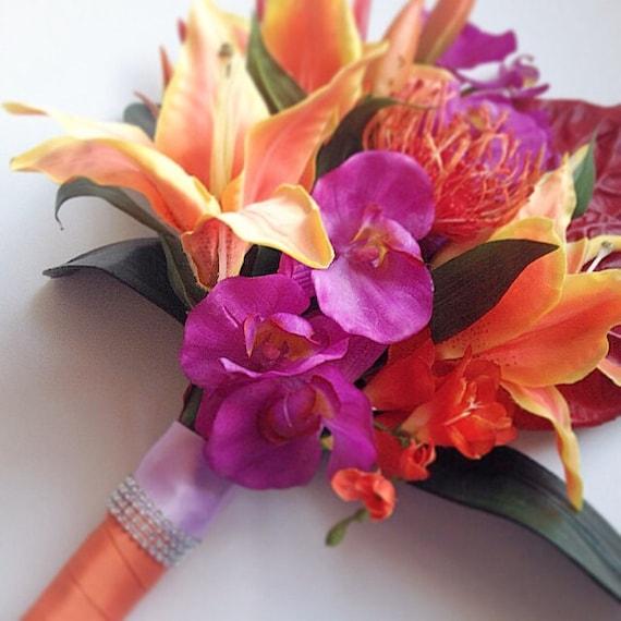 Shop Silk Bird Of Paradise And Anthurium Tropical: Tropical Bridal Bouquet Silk Bridal Bouquet