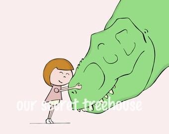 Girl & Rex Print- Girl  T. rex Hug Print (5x7 Matted Print)