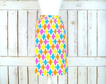Vintage silk Evan Picone neon harlequin print  pencil skirt/diamond/geometric Mod skirt/high waisted silk skirt