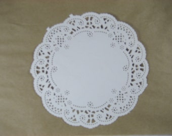 """25 French Lace 4"""" White Doilies"""
