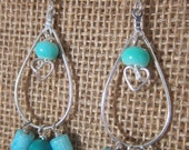 Aqua and Turquoise Heart Chandelier Earrings