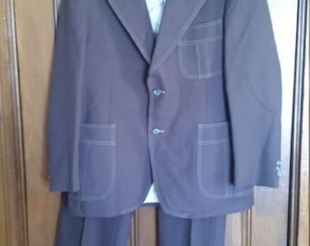 SALE Vintage Levi's Panatela Brown Polyester Suit 1970s Sport Coat and Pants