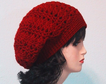 Slouch Hat in Cranberry - Valentine Gift - Hand Crocheted - Soft Acrylic Yarn - Handmade - Size Small/Medium - Slouchy Hat