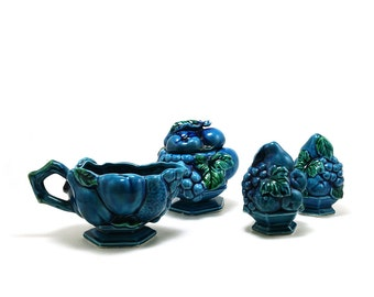 Inarco Mood Indigo-Blue cream, sugar, salt and pepper shaker set, Made in Japan, Heavy embossed fruit