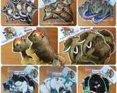 Handmade Mammal Stickers & Magnets