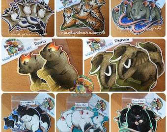 Handmade Mammal Stickers & Magnets