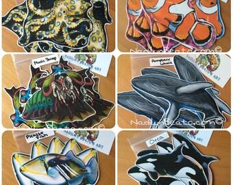 Handmade Ocean Creature Stickers & Magnets