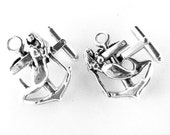 Sterling Silver Mermaid and Anchor Cufflinks