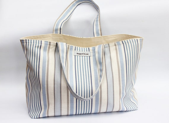 Large Cotton and Canvas Tote Bag Blue Beach Stripes Shoulder