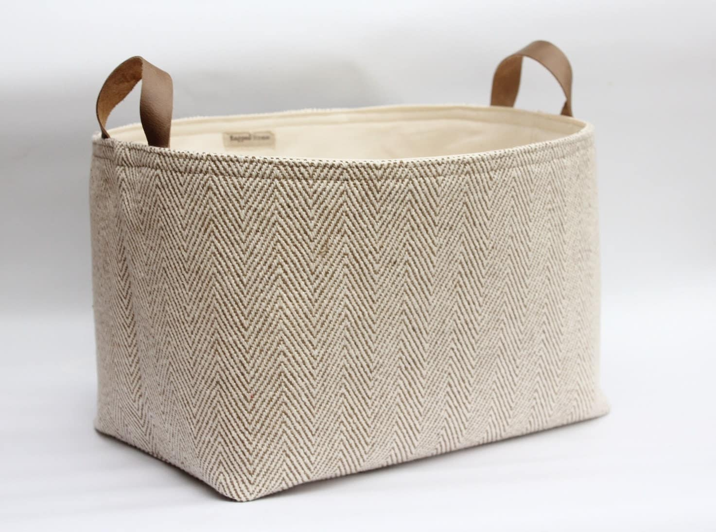 Fabric Storage Basket Herringbone Woven Cotton Leather