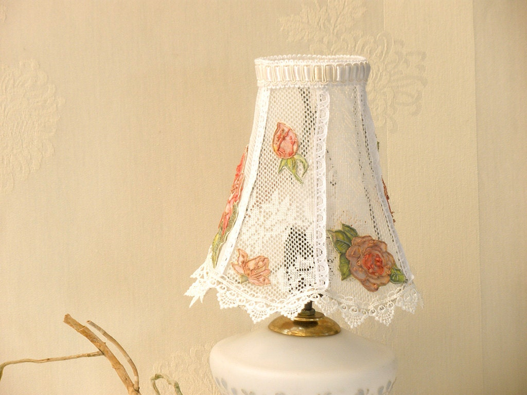 20 off shabby chic lamp bedroom lights lace table by mintook. Black Bedroom Furniture Sets. Home Design Ideas
