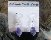 Dark purple amethyst earrings oval chevron crystal structure semiprecious stone jewelry February birthstone  packaged in a gift bag 2826  B