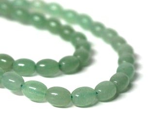 green aventurine beads, 8mm x 6mm oval natural gemstone, Full & Half Strands available   (1046S)