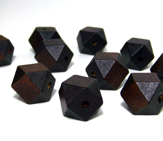 Large Faceted Wood Beads, 20mm handcut dark brown cubes, 25 eco-friendly wooden beads (542R)