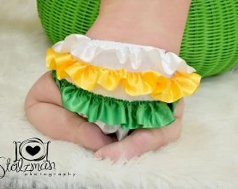 Green, White and Yellow Satin Ruffled Bloomers