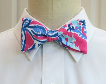 Men's Bow Tie,  capri pink Samba Lilly print,hot pink blue bow tie, wedding bow tie, groom bow tie, groomsmen gift, prom tuxedo accessory
