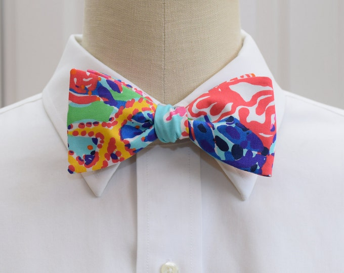 Men's Bow Tie, Fishing for Compliments multi color Lilly print, groomsmen gift, wedding bow tie, groom bow tie, prom bowtie, tux accessory