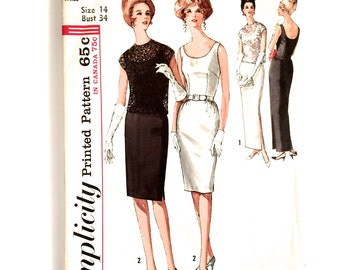60s Simplicity 5020 Slim Sheath Dress with Long or Short Skirt, Sleeveless Evening Cocktail Size 14 Bust 34