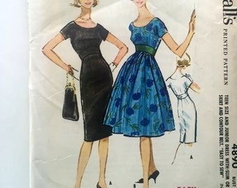 50s McCalls 4890 Evening Sheath Dress or Full Skirt Dress with Below Knee Length, Kimono Sleeves Size 12 Bust 32