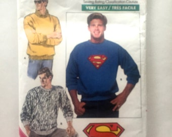 80s Butterick 5917 Superman Mens Sweat Shirt with Transfer Chest Sizes 30 32 34 36 38 40 42 44 46 48