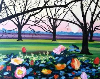 SALE! Camellias in the Pecan Orchard - 11 x 14 Print of an Original Oil Painting, Impressionist Art, by Louisiana Artist Kristi Jones