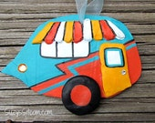 ornament, camper, polymer clay, decoration, teal, orange, yellow, airstream