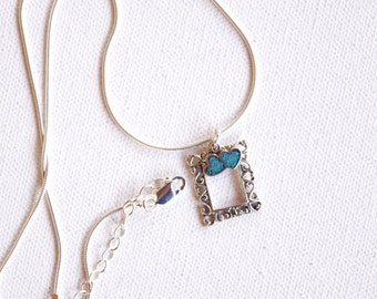Frame with hearts charm necklace sterling silver gift for her blue Christmas