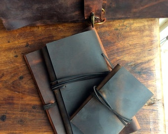DirtyChai Journal / Dark Brown Leather Wrap Journal / Moleskine Cover / Rustic Expresso Notebook / Refillable / Leather Books Sewn by Hand