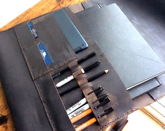 17 inch leather laptop case, Leather portfolio folder, Pencil holders, Leather computer sleeve, Laptop case with pockets, Computer clutch