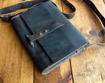 Cassel Messenger Leather Mini Saddle Shoulder Crossbody Bag iPad Case Small Travel Satchel Handmade