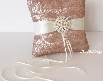 Sequin Ring Bearer Pillow, Champagne Sequin Wedding Ring Pillow  - Custom Made