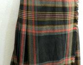 Vintage Women's 8 Plaid Wool Skirt Kilt Saint Laurent Highland Queen Black NWOT