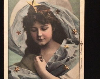 Beautiful Girl with Star Crown - Blue Scarf with Gold Stars - Postcard