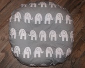Boppy Lounger cover, slipcover for boppy lounger, gray elephant with gray minky back- Ships Today