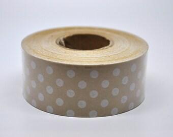 Kraft Tape - 10 yards - Polka dots - Gift Wrap - Packaging - Paper Tape - Kraft wedding