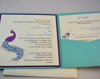 Printable PDF Peacock Wedding Invitations for the DIY Bride