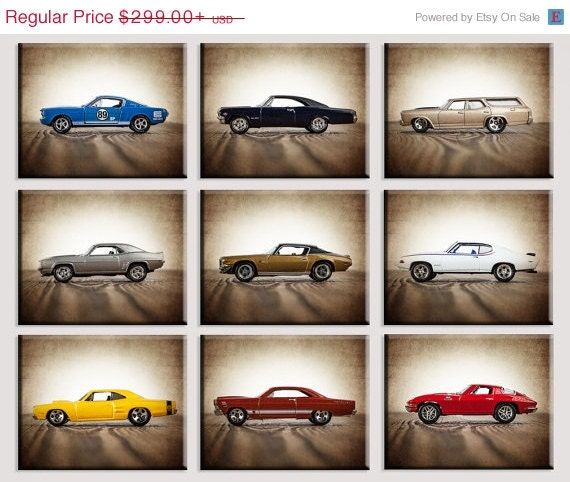 FLASH SALE Vintage Muscle Cars Set of Nine Canvas Prints, Nursery Decor, Rustic Decor , Boys Wall Art, Car Prints, Boys Wall Art, Boys Room