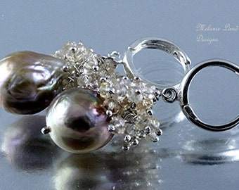 Opal Sunrise - Champagne Flameball Pearl, Champagne Sapphires Sterling Silver Earings