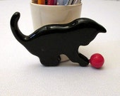 Handmade ceramic pencil holder with cat , pencil container, ceramics and pottery/Pencil holder