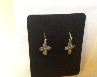 Cross earrings -silver tone cross Earrings, Antique Silver Tone Cross Earrings