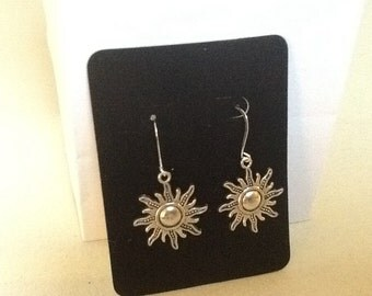 Sun Earrings -  Antique Silver Tone Sun Earrings  - Sun Charm