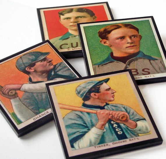 Chicago Cubs Baseball Card Coaster Set, Hall of Fame, Baseball Fan Sports Decor, Man Cave Drink Coasters, Father's Day Gift, Set of Four