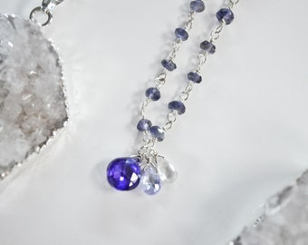 ON SALE Zirconia and Lolite Rosary Necklace